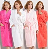 Hylong Band New Distaff Lady loosen Long Sleepwear Comfortable Robes Coral Fleece Spa Bathrobe Pink one size