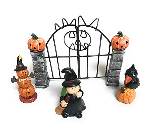 Nautical Crush Trading Halloween Assortment | 1 Darice Miniscape Miniature Fence with Witch, Pumpkin Man, and Black Bird | Fairy Garden Miniature Kit