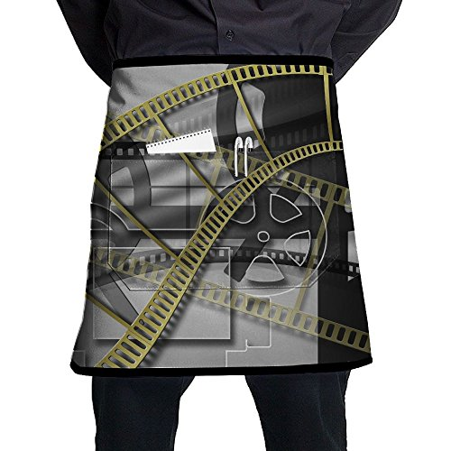 Jaylon Waist Short Apron Half Chef Apron Movie Pattern Cooking Apron with Pockets Home Kitchen Cooking Pinafore by Jaylon