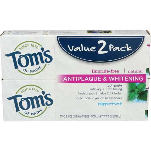10 Percent Toothpaste (Toms Of Maine Antiplaque and Whitening Toothpaste, 2 count per pack - 3 per case.)