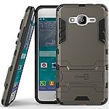 Galaxy J2 Prime Case, Galaxy Grand Prime Plus Case, CoverON® [Shadow Armor Series] Hard Slim Hybrid Kickstand Phone Cover Case for Samsung Galaxy Grand Prime Plus / J2 Prime - Gray / Black