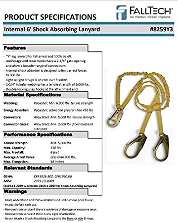 3 Pack FallTech 8259Y3 Double Shock Absorbing 6 Lanyard
