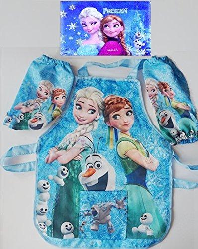 CJB Frozen Fever Elsa Anna Kids Waterproof Apron Sleeves Set Blue 2-6T ()