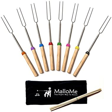 MalloMe Marshmallow Roasting Sticks Extending Roaster Set of 8 Telescoping Smores Skewers & Hot Dog Forks 32 Inch Fire Pit Camping Cookware Campfire Cooking Kids – FREE Bag, 10 Sticks & Ebook
