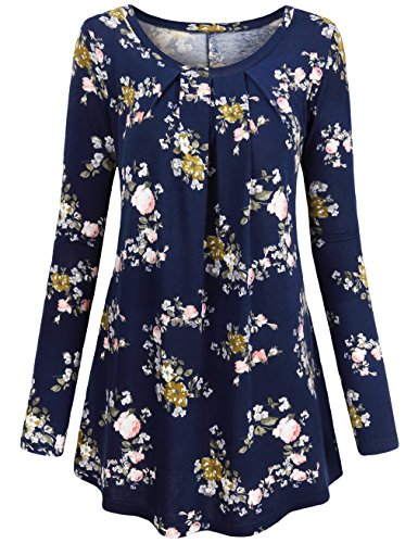 Leggings Shirts,HNNATTA Women's 2017 Boutique Clothing Basic Soft Cotton Spandex Tops Floral Print A Line Tunics Fall Clothes for Work,Blue Small