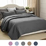Bedsure 2-Piece Bedding Quilt set Grey Twin size 68x86 Bedspread with 1 Pillow Sham Pattern Soft Microfiber Coverlet set