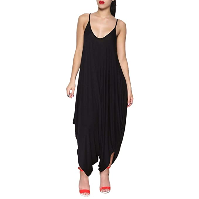 ad7e93eefef9 Red Spaghetti Strap Deep V Backless Sleeveless Casual Loose Rompers Jumpsuit  (S