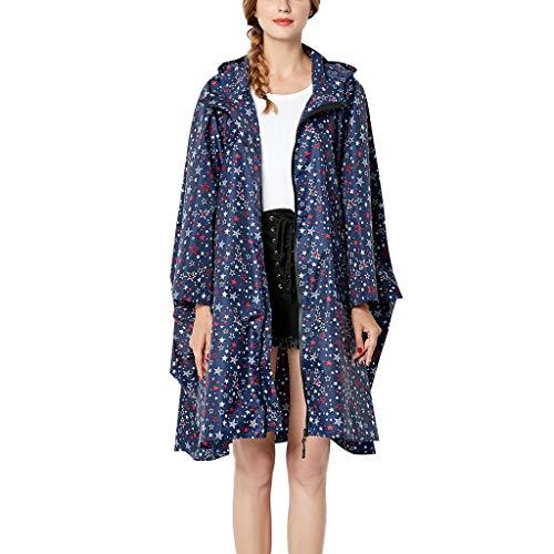 Trench Coats Temperament Windproof Coat,Coats for Women Point Rain Jacket Outdoor Hoodie Waterproof Outwear Blue