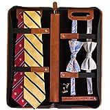Vegan Leather Travel Tie Case - 6 Neck Tie Organizer by Case Elegance