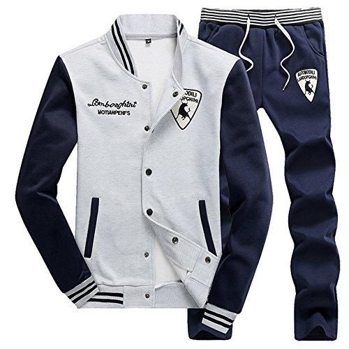 Gris shirt Sets Survêtement Baseball Homme 2 Pantalons Jogging Casual Sweat Pièces Veste 4PwW6BOZq