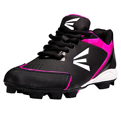 Easton Girl's 360 Instinct Missy Rubber Low Softball Cleats - Black/White/Pink Camo (Low Softball Shoe)