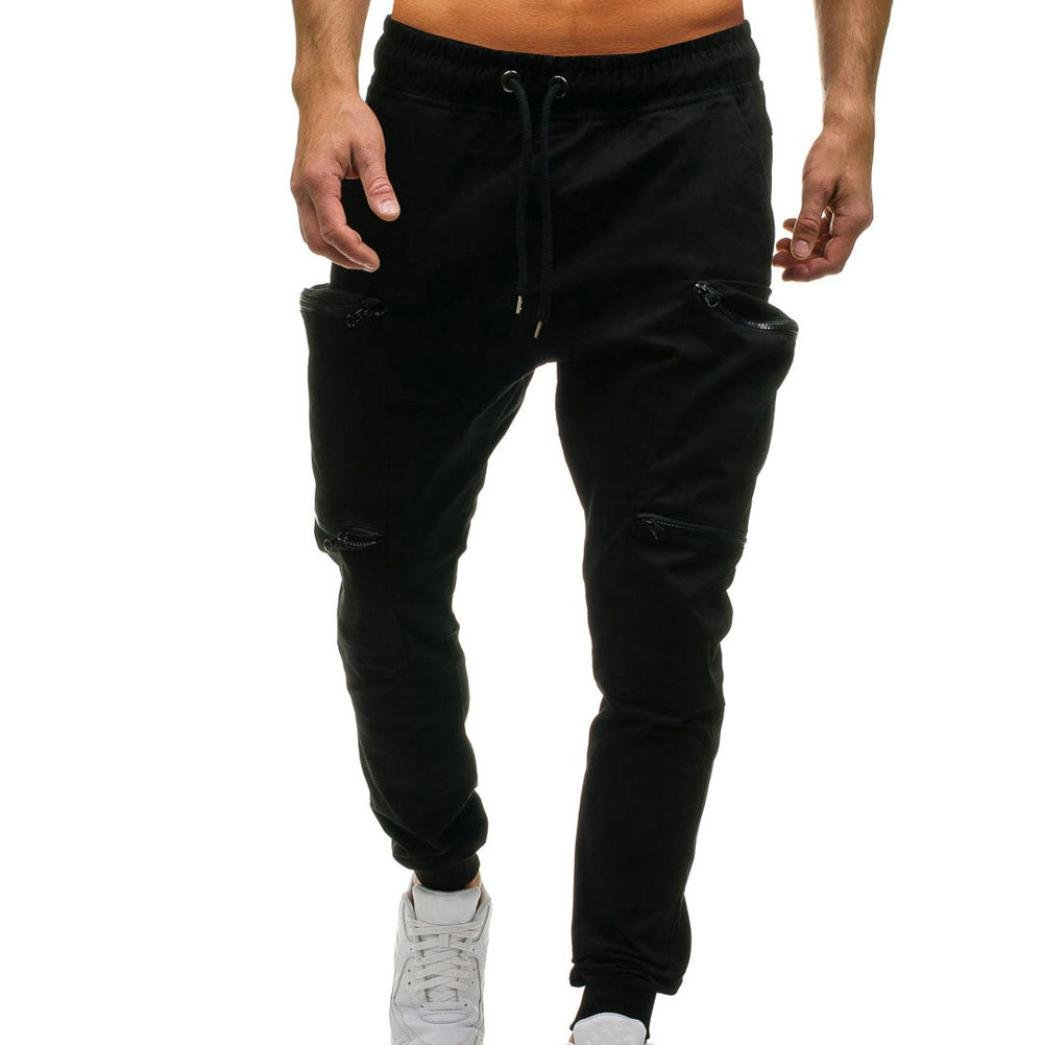 PASATO Men's Drawstring Classic Joggers Pants Zipper Pockets Casual Sport Sweat Pants(Black, XL)
