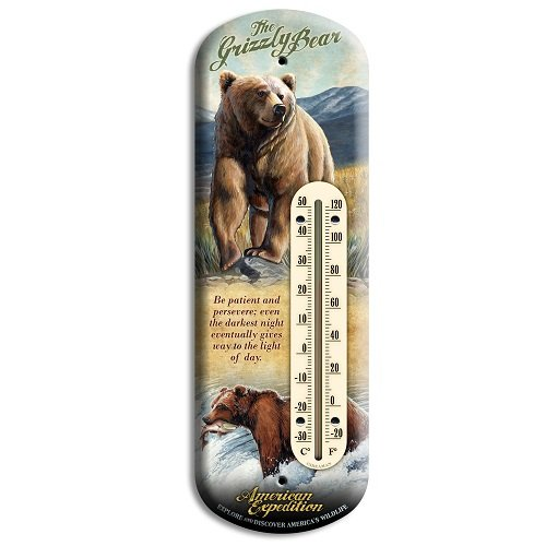 American Expedition Grizzly Bear Tin Back Porch - Tin Thermometer Bear
