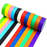Resinta 12 Pieces Colored Masking Tape Rainbow Masking Tape Labelling Tape Graphic Art Tape Roll for Fun DIY Arts Supplies Kit,12 Colors.