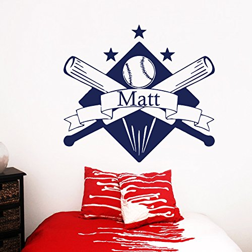 Wall Decals Personalized Name Baseball Decal Vinyl Sticker Baseball Sport Logo Home Boy Room Decor Nursery Design Bedroom Interior Dorm Window (Baseball Logo Vinyl Sticker)