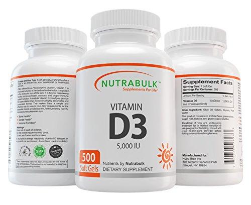 NutraBulk Vitamin D3 5,000IU Soft Gels – 500 Count