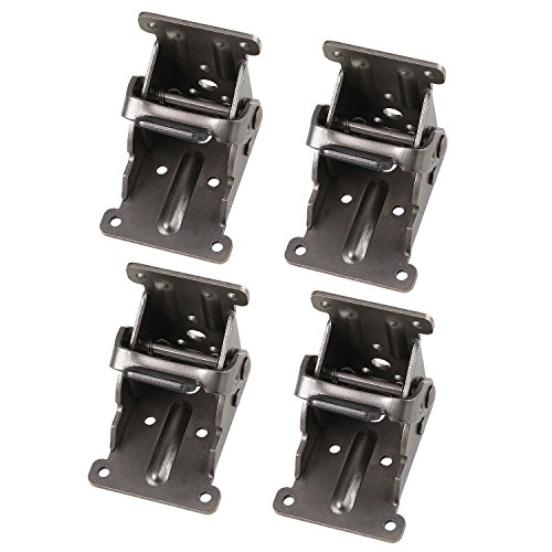 Lock Extension Table Bed Leg Feet Steel Folding Foldable Support Bracket Screw B (4 Pcs, GunBlack)
