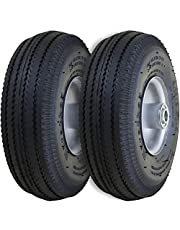 "Marathon 2310 2-Pack 4.10/3.50-4"" Pneumatic (Air Filled) Hand Truck/All Purpose Utility Tires on Wheels, 2.25"" Offset Hub, 5/8"" Bearings"
