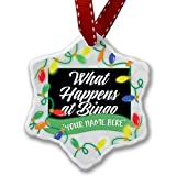 Personalized Name Christmas Ornament, Classic design What Happens at Bingo NEONBLOND