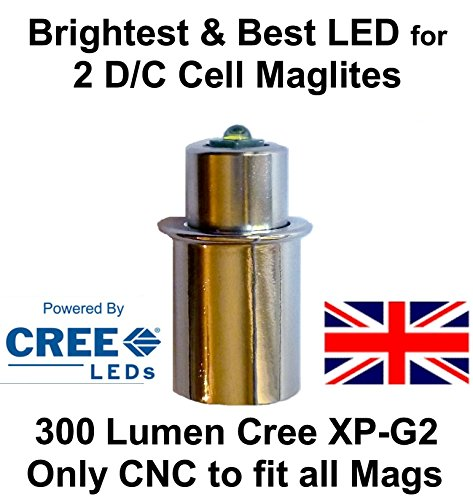 (Maglite LED Conversion Upgrade Cree XP-G2 Bulb 2 D or C Cell Flashlights by UpLED)