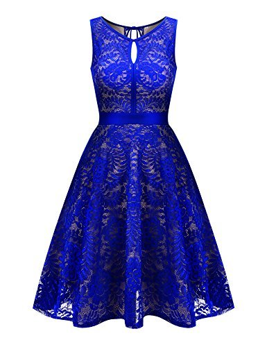 Uniboutique Women's Floral Lace Sleeveless Elastic Waist Pleated Swing Dress Royal Blue S ()