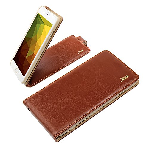 Best Smart Iphone 6 Ultra-Soft Genuine Brown Leather Flip Case Cover with Two Card Slot for Apple Iphone 6 by G4GADGET®