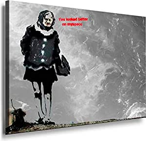 Banksy Graffiti Street Art -1100, Size 100x70x2 Cm. Printed On Canvas Stretched On A Wooden Frame.