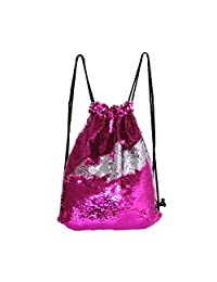 Play Tailor Mermaid Reversible Sequin Drawstring Backpack Glittering Outdoor Shoulder Bag