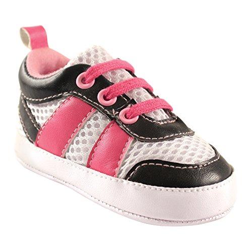 Luvable Friends Girls' Athletic Shoe Sneaker, Pink/Black, 0-6 Months M US Infant