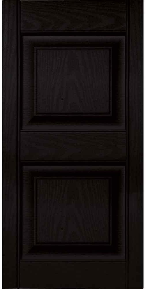 Builders Edge Raised Panel Shutter 15 in x 63 in Hardware Vinyl Black
