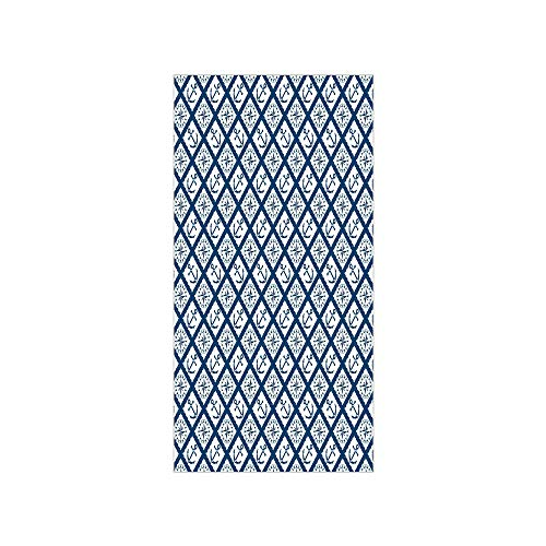 - Decorative Privacy Window Film/Nautical Pattern with Anchor and Windrose in Rope Stripes Navigation Sea Adventure/No-Glue Self Static Cling for Home Bedroom Bathroom Kitchen Office Decor Indigo White