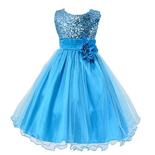 Wocau Little Girls' Sequin Mesh Tull Dress Sleeveless Flower Party Ball Gown (160(8-9 Years), Rose)