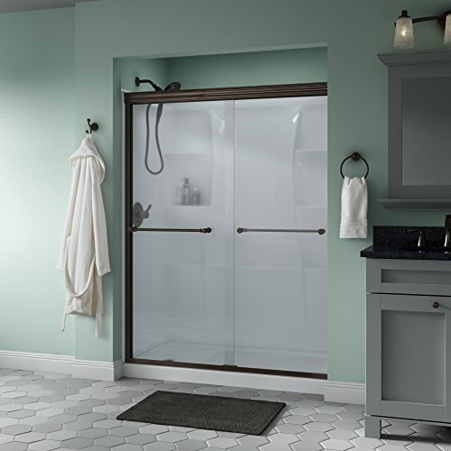 "Delta Shower Doors SD3172335 Windemere 60"" x 70"" Semi-Frameless Traditional Sliding Shower Door in Bronze with Niebla Glass"