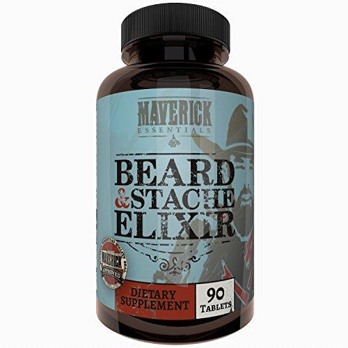 Maverick Essentials Beard + Mustache Elixer - 90 Count - Thicker, Fuller, Faster Hair Growth Supplement (Best Over The Counter Hair Growth Supplement)