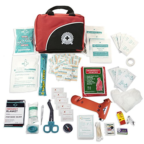 Ultra Light Small 100 Piece First Aid Kit In Durable Nylon Case W Bonus Emergency Auto Escape Tool Kit Is Ideal For The Car Home School Camping Hiking Travel Office Sports Hunting