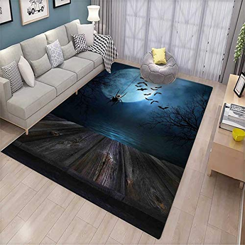Halloween Floor Mat for Kids Misty Lake Scene Rusty Wooden Deck Spider Eyeball and Bats with Ominous Skyline Bath Mat Non Slip Blue Brown]()