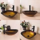 WALCUT USBR1037 Square Bathroom Modern Hit Color Artistic Glass Vessel Sink with ORB Faucet and ORB Pop-Up Drain Combo