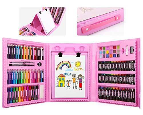 Zooawa 176 Pcs Art Set, Sketching and Drawing Handle Art Box with Oil Pastels, Crayons, Colored Pencils, Markers, Paint Brush, Watercolor Cakes, Sketchpad for Kids and Toddlers - Colorful by Zooawa