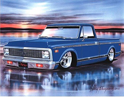 1971 72 Chevy C10 Fleetside Pickup Classic Truck Art Print Blue 11x14 Poster