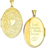 ICE CARATS 14k Yellow Gold Irish Claddagh Celtic Knot Heart 38mm Oval Photo Pendant Charm Locket Chain Necklace That Holds Pictures Fine Jewelry Gift Set For Women Heart
