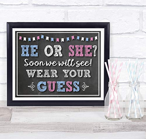 Katie Doodle Baby Gender Reveal Party Supplies Favors Decorations Centerpiece | Includes 8x10 Wear-Your-Guess Sign [Unframed], GR502, Black/Pink/Blue ()
