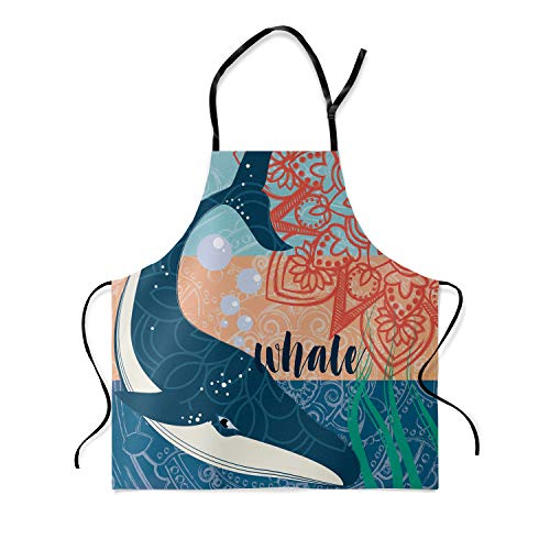 Family Decor Adjustable Bib Apron, Waterdrop Resistant Cooking Kitchen Aprons for Teens Boys Girls, Whale with Floral Background ()