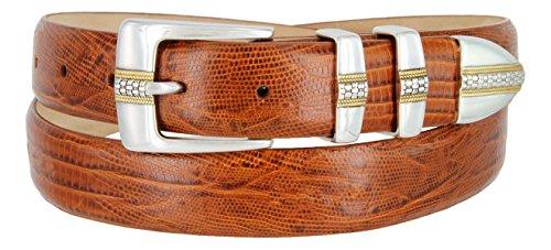Milan Italian Calfskin Leather Men's Designer Belt (46, Lizard Tan) (Calfskin Belt)
