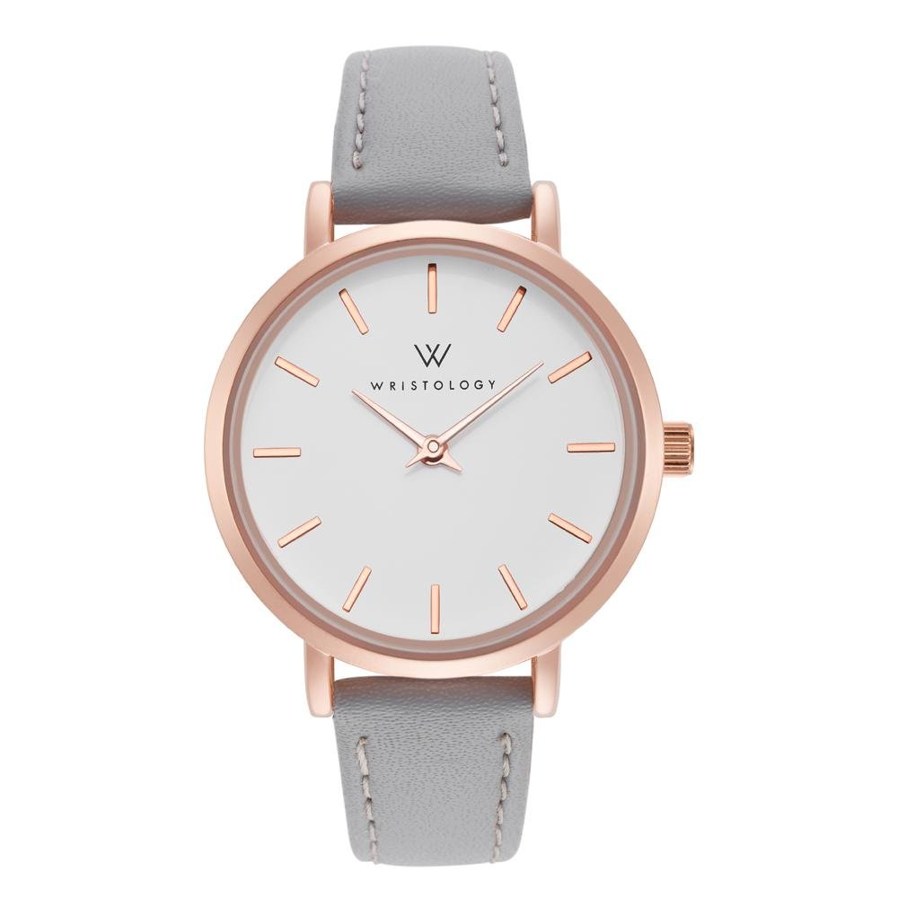 WRISTOLOGY Charlotte Petite Womens Watch Rose Gold Metal Grey Leather Ladies Changeable Strap Band