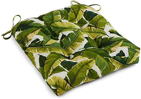 South Pine Porch AM4800-Palm-White Palm Leaves White Outdoor 20-inch Seat Cushion