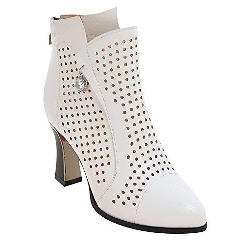 Latasa Mujeres Breathable Holes High Heels Botines De Primavera Blanco