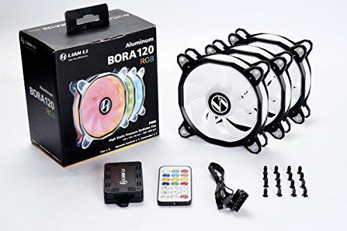Lian Li Controller - Lian Li BORA Series ,120R-3 Black RGB LED PWM three fans with controller