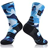 Waterproof Hiking Socks, RANDY SUN Unisex Cycling Running Trekking Socks, 1 Pair Camouflage Blue Printing Medium