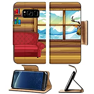 Luxlady Premium Samsung Galaxy S8 Flip Pu Leather Wallet Case IMAGE 20729582 Illustration of an empty sofa with bookshelves at the back