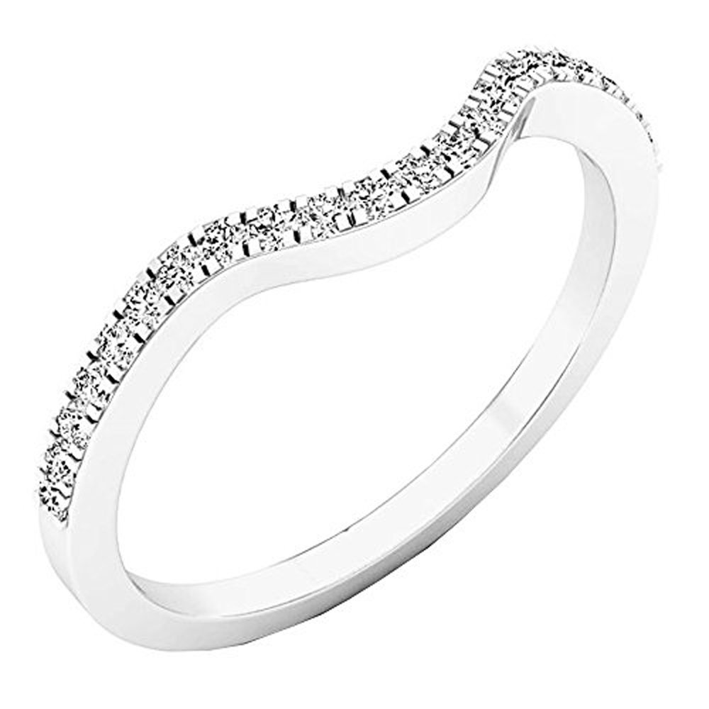 DazzlingRock Collection 0.15 Carat (ctw) 14K White Gold Round White Diamond Anniversary Ring Wedding Guard Band (Size 7.5)